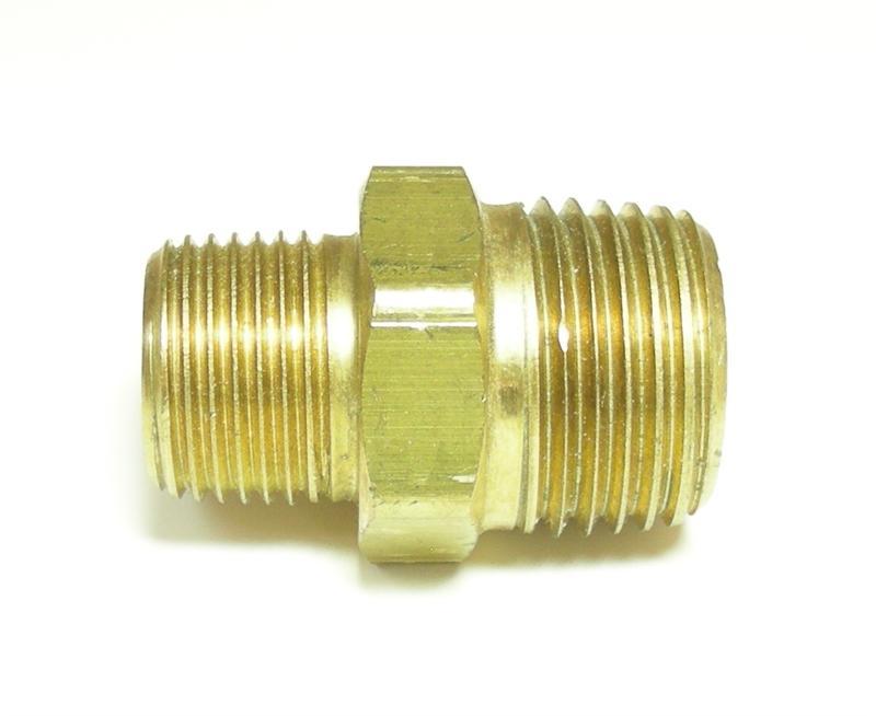 "New 1//2/"" male by 3//8/"" male brass hex nipple"