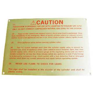 70706 LPG Caution Plaque Satisfies ABYC A-1.11 Requirement
