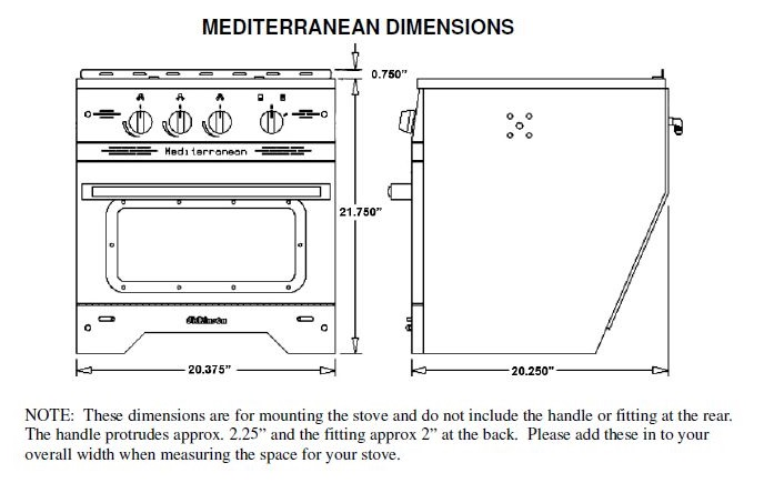 Dickinson 00 Med3b Mediterranean 3 Burner Propane Galley Range